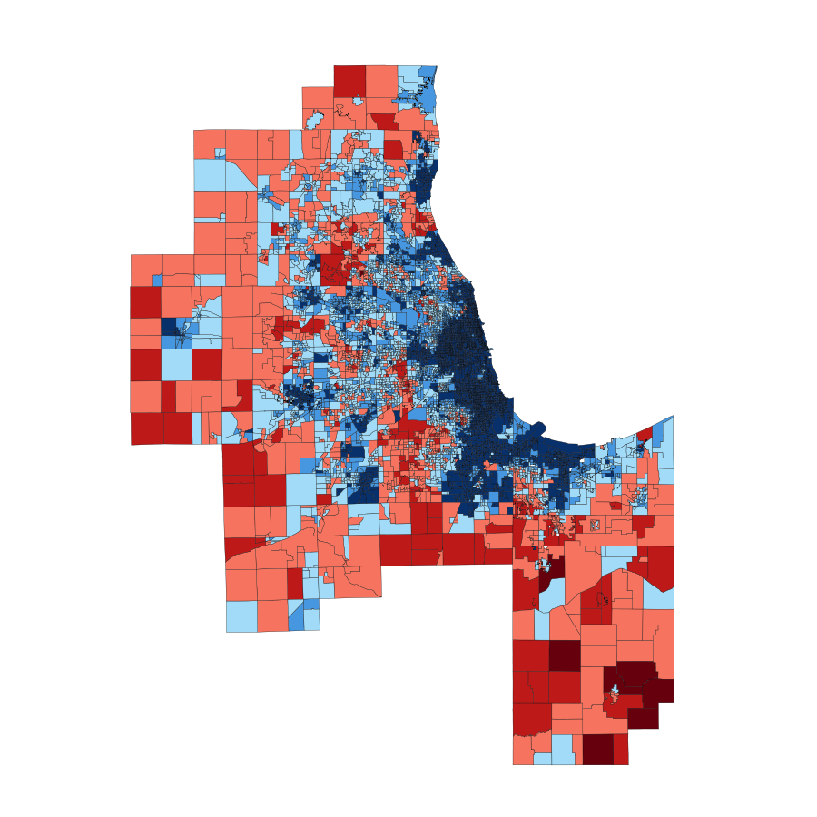 2008 Chicago Area Presidential Vote By Ward
