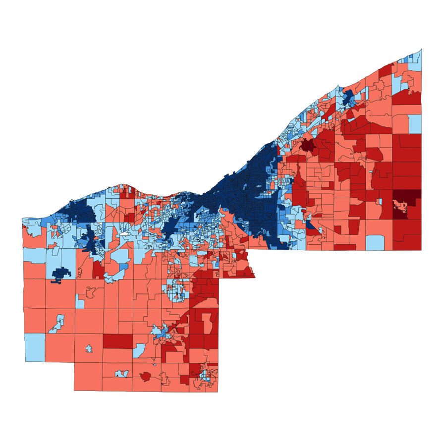 2008 Cleveland area presidential vote by ward