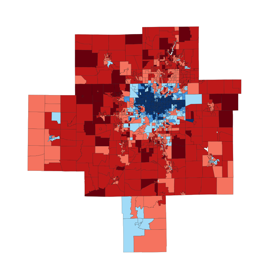 2008 Indianapolis area presidential vote by ward