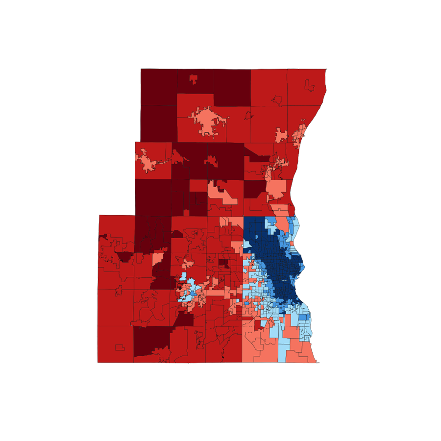 2008 Milwaukee area presidential vote by ward
