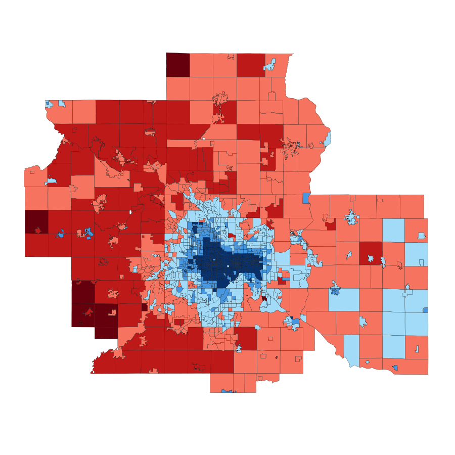 2008 Minneapolis-St. Paul area presidential vote by ward