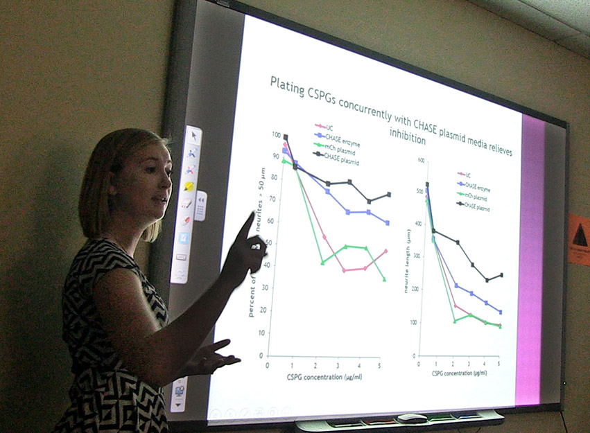 Kristen Winsor, a lab assistant in Dr. Murray Blackmore's lab, presents some of her findings